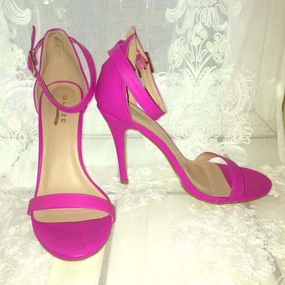 "67ec71fcdf07 Glaze Shoes - Hot Pink 4"" Party Heels"